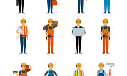 construction workers cartoon icon set over white b